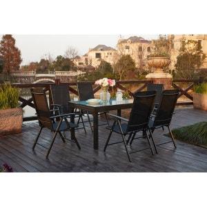 Brescia 6 : Ensemble de jardin en aluminium table extensible + 6 chaises en textilène CONCEPT USINE