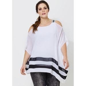 Bluse mit rundem Ausschnitt und schmalen Trägern, bedruckt MAT FASHION