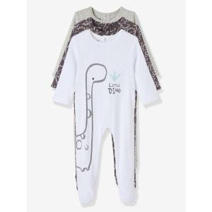 Lot de 3 pyjamas bébé coton VERTBAUDET