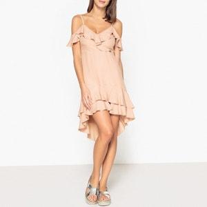 Ruffle Dress with Shoestring Straps LIUJO