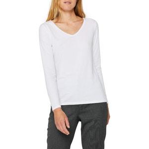 T-shirt met V-hals in mixed organisch katoen