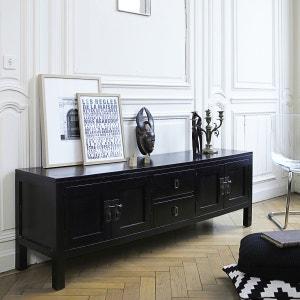 Meuble TV en bois d'acajou noir 170 Thaki black TIKAMOON