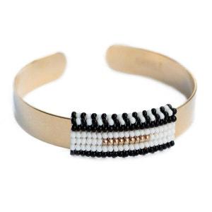 Jonc doré orné d'un motif tissé en perles AMAHLE
