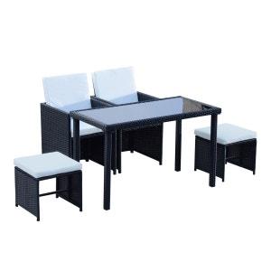 ensemble salon de jardin encastrable 2 fauteuils monoblocs + 2 tabourets + table basse résine tressée 4 fils OUTSUNNY