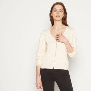 T-shirt en coton esprit blouse à manches 3/4 et col V MONOPRIX