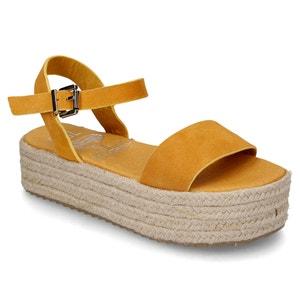 Sandalias de piel aterciopelada con tacón de cuña COOLWAY