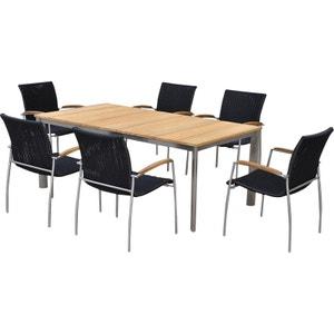 Salon de jardin table et 6 fauteuils acier brossé et teck Melbourne DELORM