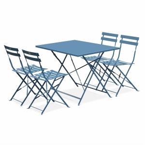 Salon de jardin bistrot pliable Emilia rectangulaire bleu grisé avec quatre chaises pliantes, acier thermolaqué ALICE S GARDEN