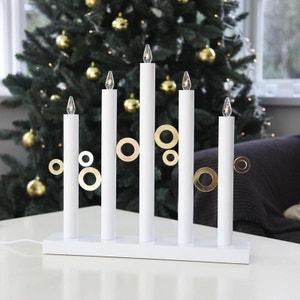 CIRCLE LIGHT - Chandelier Cercles Bois blanc 5 LED H40cm - Lampe à poser Xmas Living Glass designé par XMAS LIVING GLASS