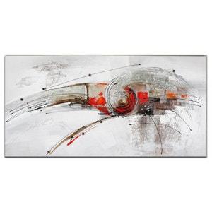 ABSTRAIT Toile rectangulaire Rouge métal Acrylique 140x70 PIER IMPORT