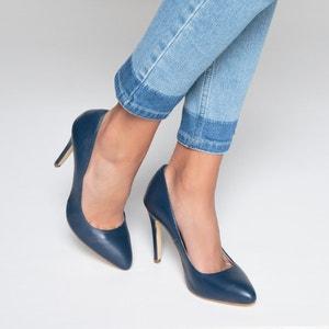 Туфли кожаные на оригинальном каблуке