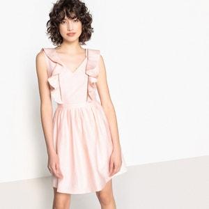 Rechte jurk zonder mouwen met V-hals en volants SUNCOO