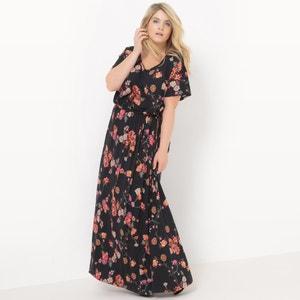 Vestido comprido em malha, estampado às flores, mangas curtas CASTALUNA