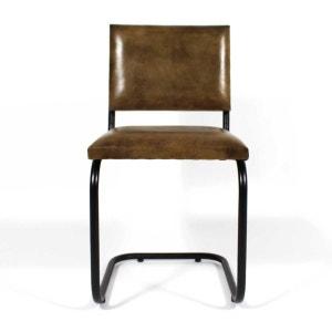 Chaise industrielle cuir et métal pieds en S  |  ME MADE IN MEUBLES