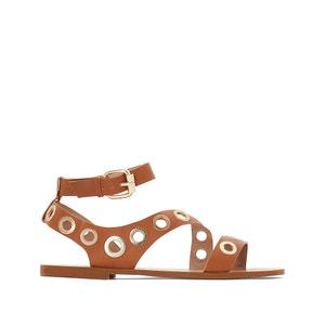 Sandálias rasas em pele, detalhe com ilhós La Redoute Collections