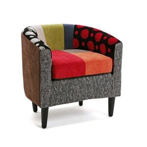 Fauteuil Cabriolet en tissu à motif Patchwork coloré 60x62x62cm BARCELONE PIER IMPORT