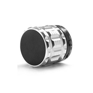 Mini Enceinte bluetooth kit mains libres micro SD USB métal Argent Yonis