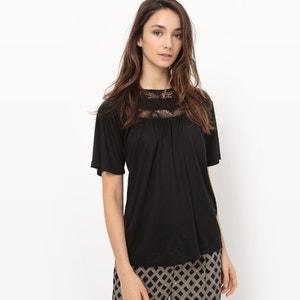 T-shirt met inzetstuk in kant en ronde hals R édition