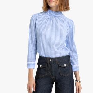 Gestreepte blouse met opstaande kraag en lange mouwen