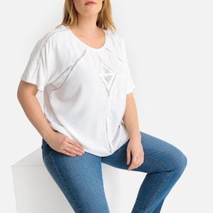 T-shirt met ronde hals en geborduurde details, korte mouwen
