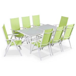 Salon de jardin en aluminium table 8 places Blanc textilène fauteuil vert pomme ALICE S GARDEN