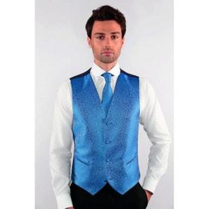 Gilet de Costume Homme classique bleu décor fleuri DYMASTYLE