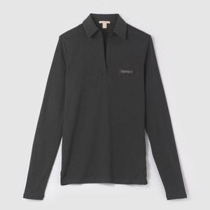 Camiseta de manga larga, cuello polo ESPRIT