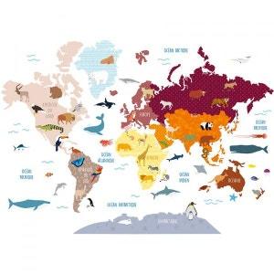 Grand Sticker :  Carte du Monde Animaux DECOLOOPIO