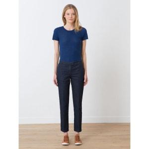 Pantalon denim femme 7/8ème plis marqués, HAOULI SOMEWHERE