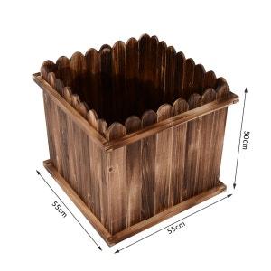Bac à fleurs jardinière carrée avec fond extrémités supérieures lattes arrondies bois de sapin 55 x 55 x 50 cm - OUTSUNNY OUTSUNNY
