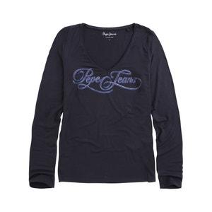 T-shirt met lange mouwen en print vooraan Marlène