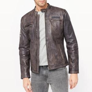 Куртка кожаная на молнии PEPE JEANS