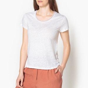 T shirt lin brodé au col JESSICA HARRIS WILSON