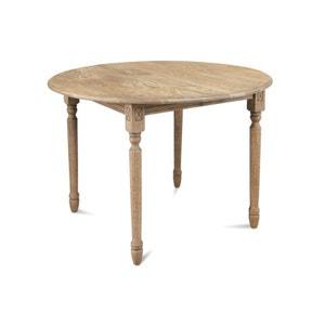 Table ronde avec allonges et pieds tournés VICTORIA - bois chêne massif HELLIN, DEPUIS 1862