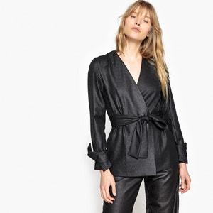 Metallic Look Tie Waist Jacket La Redoute Collections