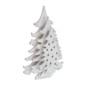 Sapin lumineux décoratif Noël à ventouse - 11 x 16 cm - Blanc LOTTI