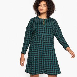 Платье расклешенное с принтом средней длины
