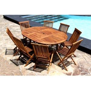 Salon de jardin en bois de Teck Huilé - Table ovale 6/8 personnes + 8 chaises pliantes BOIS DESSUS BOIS DESSOUS