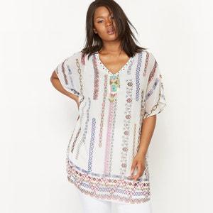 Printed Short-Sleeved Blouse with Embellished Inset CASTALUNA