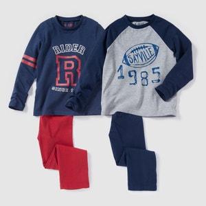 Pijama de punto con estampado campus 2-12 años (lote de 2) R édition