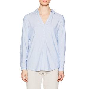 Blusa lisa con cuello polo, de manga larga ESPRIT
