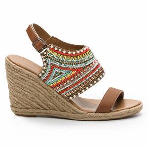 Sandales compensées cuir et perles Ijine COSMOPARIS