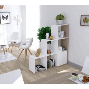 Bibliothèque escalier imitation chêne et blanc TERRE DE NUIT