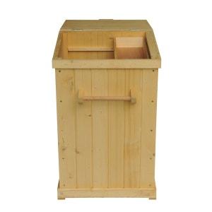 2 en 1 cache-poubelle sur pied ou armoire de jardin compacte 45L x 48l x 69H cm bois massif de pin - PAWHUT PAWHUT
