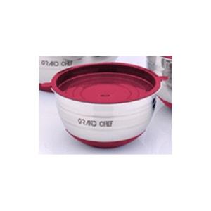 Set de 3 Saladier avec couvercle en plastique Acier inoxydable 16/20/24cm Rouge Grand Chef Art et Cuisine ART ET CUISINE