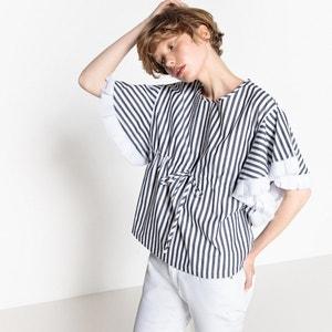 Blusa a rayas de manga corta, con cordón en la cintura MADEMOISELLE R