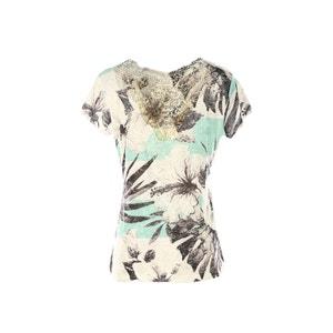 Camiseta de manga corta con estampado tropical y encaje RENE DERHY