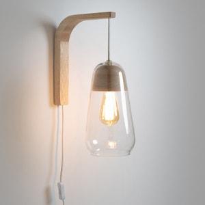 Wandlamp in glas en hout Nasoa