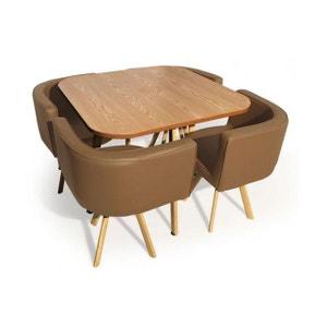 Table Avec Chaises Encastrables Scandinaves Taupe COPENHAGUE DECLIKDECO