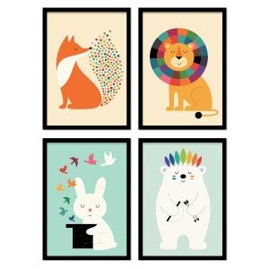 4 Affiches 20x30 cm - Illustrations enfants - Bébés animaux Westface WALL EDITIONS